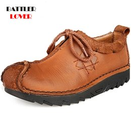 vintage leather casual shoes men NZ - Men Cowhide Casual Shoes Sneakers 2019 High Quality Vintage 100% Genuine Leather Shoes Men Cow Leather Soft Flats Driving