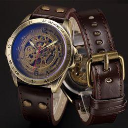 $enCountryForm.capitalKeyWord Australia - Skeleton Mechanical Watch Automatic Watch Men Steampunk Bronze Transparent Mens Automatic Mechanical Wrist Watches Clock For Man Y19070603