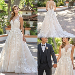 romantic boho beach wedding dress Canada - Romantic Country Wedding Dresses Lace Appliqued 2019 Sweep Train A Line Modest Wedding Dress Jewel Neck Beach Boho Bridal Gowns Plus Size