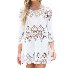 $enCountryForm.capitalKeyWord UK - Women's Swimsuit Lace Hollow Crochet Beach Bikini Covers 3 4 Tall White Swimsuit Beach Gown Shirt Narzutana Square