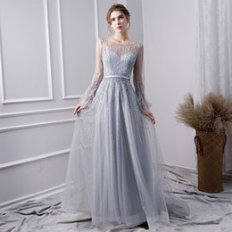 elegant evening dresses sleeves back Canada - Elegant A-line 2020 Bateau Sheer Neck Evening Dresses Sexy Illusion Long Sleeves Zipper See Through Back Long Formal Tulle Prom Maid Dresses