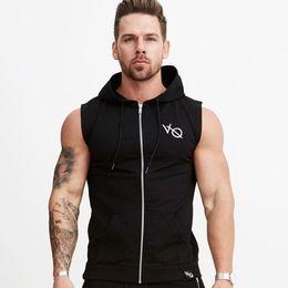 $enCountryForm.capitalKeyWord Australia - Men Bodybuilding sleeveless Hoodie Gyms Fitness Workout Zipper Sweatshirt Cotton Solid Hooded Vest Tank top Crossfit Clothing #314341