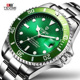 tevise automatic watch men Australia - Tevise Green Watch Men Automatic Mechanical Anti-scratch Rotatable Outer Ring Waterproof Luminous Mens Watches Top Brand Luxury J190705