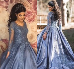 $enCountryForm.capitalKeyWord Australia - Long Sleeve Evening Dresses Ball Gowns 2019 Jewel Lace-up Back Capped Sweep Train Applique Formal Prom Gowns Vestidos De Fiesta Customized
