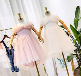 $enCountryForm.capitalKeyWord Australia - Children's day pageant dress kids beaded lace gauze dew shoulder princess dress girls lace gauze embroidery dovetail dress
