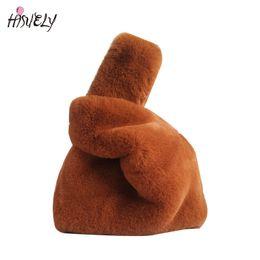 Soft Female Faux Rabbit Fur Handbag Ladies Plush Shoulder Bag Casual Warm  Winter Deformation Women Evening Torba Clutch Bolsos D19011204 15a60ecab4604