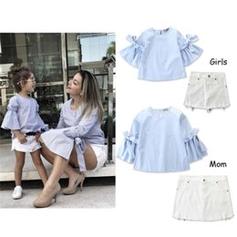 $enCountryForm.capitalKeyWord NZ - Girls Pure Color Suit Tops + White Skirt Set Summer Mommy and Me Family Matching Clothing Set
