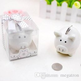 kids coin savings banks NZ - Lovely white ceramic Pig Shape Money Saving Box Coins Penny Cents Piggy Bank baby shower Saving Kids Gift Wedding Favor