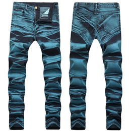 washed clothes NZ - Hand Painted Washed Mens Designer Jeans Zipper Fly Stretch Mens Pencil Pants Casual Fashion Skinny Male Clothing