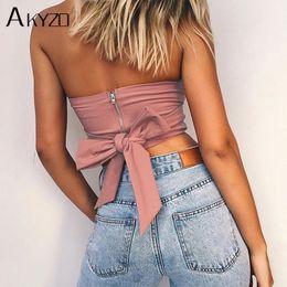 $enCountryForm.capitalKeyWord NZ - Akyzo Sexy Beach Off Shoulder Strapless Tank Tops 2018 Pink Bow Tie Casual Cute Summer Female Short Crop Tops Camis Feminino Y190123