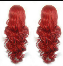 Anime wigs red online shopping - WIG Fashion Women Anime Long Wave Hair Curl Dark Red Cosplay Party Dress Wig