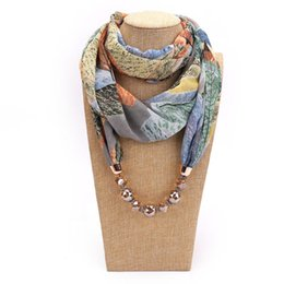 Bohemian Printed Scarves UK - New Geometric Beads Necklaces Printing Flowers Pattern Wrap Chiffon Statement Scarf Necklace For Women Bohemian Jewelry