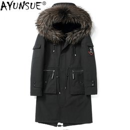 c16aba37ee824 AYUNSUE Parka Real Fur Coat Men Long Winter Jacket Natural Rabbit Fur Liner  Warm Parkas Raccoon Collar Hooded Coats KJ1598