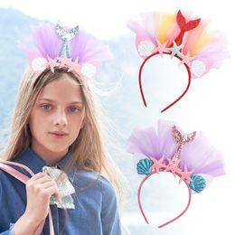 $enCountryForm.capitalKeyWord Australia - Beach Party Mermaid kids headband lace baby headbands girls designer headband designer headbands designer hair accessories for kids A6341