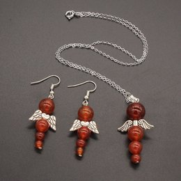 $enCountryForm.capitalKeyWord NZ - FYJS Unique Silver Plated Wing Red Agates Jewelry Sets Link Chain Necklace Round Beads Earrings