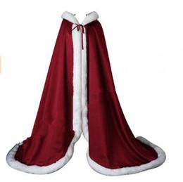 Taffeta Wrap Jacket UK - Winter Bridal Shawls Jackets Cape Faux Fur Christmas Cloaks Hooded Perfect Wedding Wraps Abaya Wedding Dresses