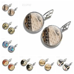 Glass Flutes Australia - Musical Instrument Clarinet Guitar Flute Violin Music Stud Earrings Silver Simple Style Women Gift Glass Cabochon Hook Earrings