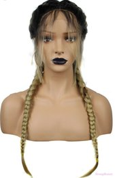 $enCountryForm.capitalKeyWord UK - Fashion Synthetic Baby Hair Braided Lace Front Wig Long Black Ombre Blonde Wigs