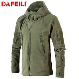 Wholesale tactical windbreaker for sale – winter Military Tactical Fleece Jacket Men US Army Polartec Windbreaker Clothes Male Multi Pockets Outerwear Hoodie Coat For Men SH190916