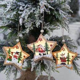 christmas ornament crafts silver NZ - Wooden Pentagon Pendant Christmas Tree Star LED Fairy Light Ornament Craft