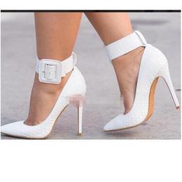 $enCountryForm.capitalKeyWord NZ - Fashion Luxury White Serpentine Snake Skin Leather Women Shoes,Super High Heel Pointed Toes Dress Shoe Sexy Buckle Strap High-heeled 12 10cm