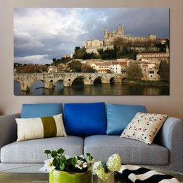River Bridge Painting Australia - czech republic river bridge Canvas Arts Pictures Wall Pictures printed on canvas