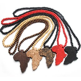 $enCountryForm.capitalKeyWord Australia - Wooden Africa Map Necklace Hip Hop Map Creative Pendant 5 colors to choose from Fashion Personality Wood Pendant Bead Necklace