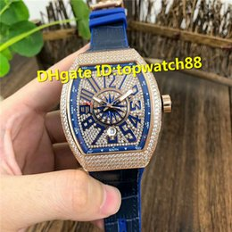 $enCountryForm.capitalKeyWord Australia - Top Rose Gold Full Diamond Wristwatch Swiss Automatic 28000vph Sapphire Crystal Blue calfskin strap Solid Case Back Mens Watch