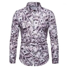 long collar shirts NZ - Down Collar Shirts Designer Costumes Mens Apparel All Dollar Print Mens Casual Shirts Long Sleeve Turn