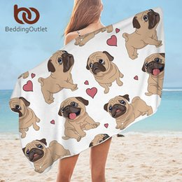 cartoon towel dog NZ - BeddingOutlet Hippie Pug Bath Towel Bathroom Microfiber Animal Cartoon Dog Beach Towel for Adult Cute Bulldog Blanket 75x150cm Y200428
