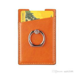 wholesale card ring Australia - PU Leather Cell Phone Wallet Pocket Pouch Card Holder With 360 Ring Stand for Mobile Devices Adhesive Sticker Back With Retail Packaging