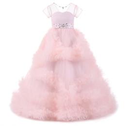 $enCountryForm.capitalKeyWord UK - Blue Pink Flower Girls Dresses 2019 Sheer Neck Short Sleeves Holy Communion Dresses with Sashes Ribbon Ball Gowns for girls New