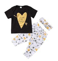 10c9ad7f9f9f5 Bebé niño niña niño 3 unids traje una flecha a través del corazón negro top  manga corta camiseta + pantalón largo + diadema 3 unids niños ropa conjunto