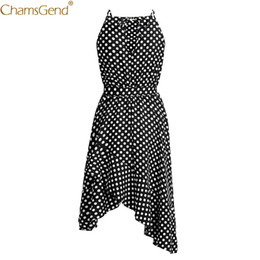 Wholesale Polyester Dress NZ - Women Summer Dress 2019 dress girl Boho Long Evening Party Sexy Beach Casual Dot Printed woman party night Jun26
