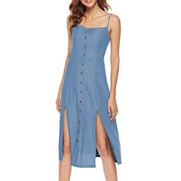 $enCountryForm.capitalKeyWord UK - 2019 Women Casual Denim Dresses Split Summer Sexy Spaghetti Strap Dresses Knee-Length Female Beach Dress S-XL