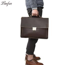 Post locks online shopping - Men s Genuine Leather briefcase with dial lock inch Vintage Business bag Cowhide Laptop Handbag Mens Work tote fast post