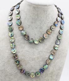 Опт синий Радуга ушка оболочки монета 10-12 мм ожерелье 30 дюймов FPPJ Оптовая бусины природа
