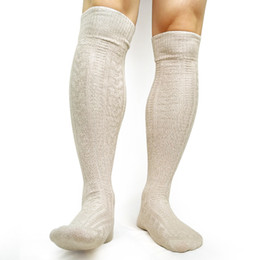 over knit sock UK - Knee High Mens socks Knit Winter Warm Long socks For Men Business Hose Sexy Woven Cotton Male Gay Socks For Collection