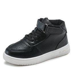 Brand High Board Shoes UK - autumn winter brand children's sneakers boys and girls casual leather shoes winter students shoes high tube board shoes