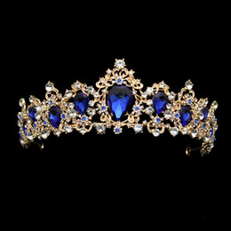 Large Luxury Fashion Crystal Wedding Bridal Tiara Diamante Royal Blue Crown  Pageant Prom Hair Jewelry For Bridesmaid Bride C18112001 1adc59f43d91