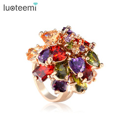 women flower ring Australia - ashion Jewelry LUOTEEMI My Mona Lisa Champagne Gold-Color Multi-Color Cubic Zirconia Stone Big Women Rings Bling Crystal Flower Rings Wh...