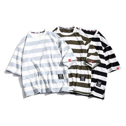 oversized striped tee NZ - Cotton Loose Fit Short-Sleeved Men T-shirt Stripe Plus Size Summer Oversized T Shirt Mens O Neck Casual Male Tee Tops YT50272