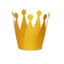 $enCountryForm.capitalKeyWord UK - 6 Pcs lot Glitter Little Prince Princess Plastic Crown Hats Birthday Party Baby Shower Kids Birthday Decorations Party