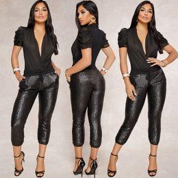 Wholesale sequins pants resale online - Sequins Shiny Designer Women Pants Solid Color Sexy Slim Skinny High Waist Pencil Pants Spring Summer Fashion Women Pants