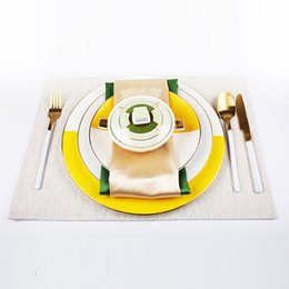 $enCountryForm.capitalKeyWord Australia - Yellow Ceramic Plate Western Cutlery Set Three sets of knife, fork and spoon combination Dinnerware Accessories of Western Restaurant