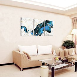 Gold Framed Paintings Australia - 3 Piece Canvas Wall Art Modern Marble Texture Abstract Creative Gold Line Blue Decorative Painting for Living Room Bedroom Decor Framed Art