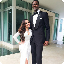 $enCountryForm.capitalKeyWord Australia - Black Men Suits For Wedding Suits Shawl Lapel Custom Made Bridegroom Prom Slim Fit Formal Groom Wear Best Man Jacket Tuxedos Blazer 2Pieces