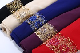 lace hijab scarves 2019 - 1 pc women's lace chiffon silk gold beads scarf glitter floral plain hijab muslim pearl nice 9 color scarves shawls