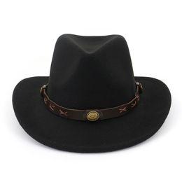 275f88d9 Woolen Jazz Church Hats Men Women Wool Panama Hats Cowboy Western Caps Wide  Brim Sombrero Fedora Trilby Cap