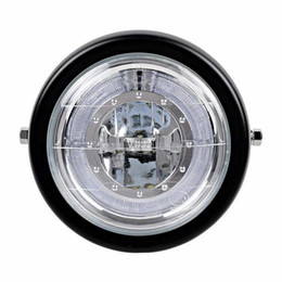 "universal halo headlights Australia - 6 1 2"" Motorcycle Retro Black Clear Lens Headlight w Halo Ring for Bobber Cafe Racer Cruiser Vintage Style"